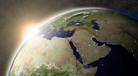 middle east map: Sunset over Middle East region on planet Earth viewed from space with Moon and stars in the background.