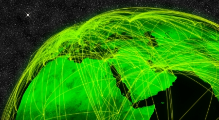 gulf: Network over Middle East. Information technology concept.  Stock Photo