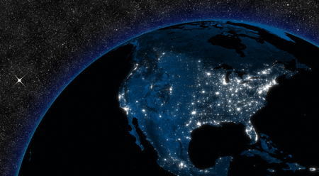 宇宙から見た街の明かりと北米での夜。NASA から提供されたこのイメージの要素です。 写真素材