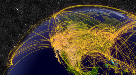 Air travel network over North America. Elements of this image furnished by NASA. photo