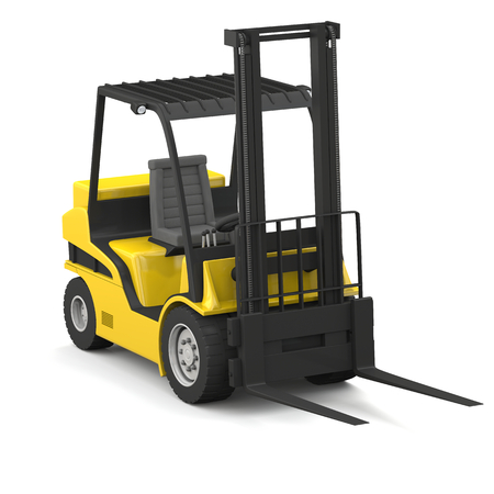Modern yellow forklift isolated on white background photo