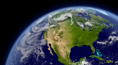 north america map: North America viewed from space with atmosphere and clouds