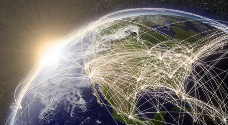 North America with network representing major air traffic routes 写真素材