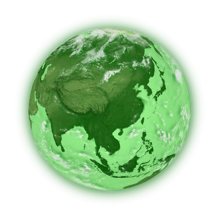 Southeast Asia on green planet Earth isolated on white background