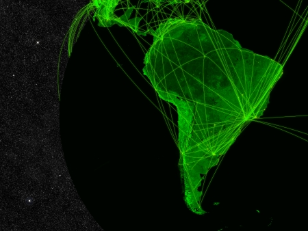 Network over South America. Information technology concept. Elements of this image furnished by NASA. photo