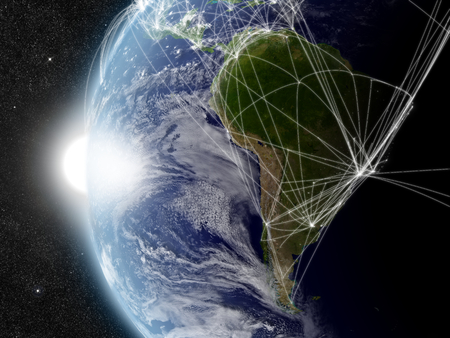 South America with network representing major air traffic routes. Elements of this image furnished by NASA. photo