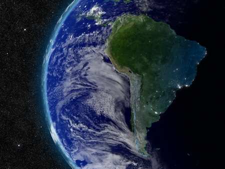 South America from space. Elements of this image furnished by NASA. photo