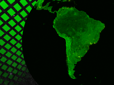 South America technology concept. Elements of this image furnished by NASA. photo