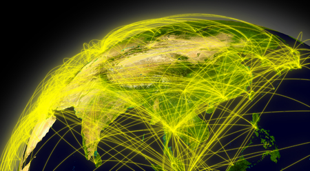 air traffic: East Asia viewed from space with connections representing main air traffic routes.  Stock Photo