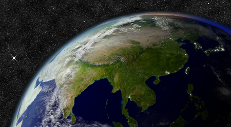 east asia: East Asia from space.  Stock Photo