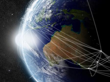 australia: Australia with network representing major air traffic routes. Stock Photo