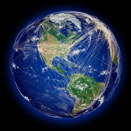 continente americano: Principales rutas de vuelo viajes a�reos en continente americano. Superficie del planeta altamente detallado. Foto de archivo