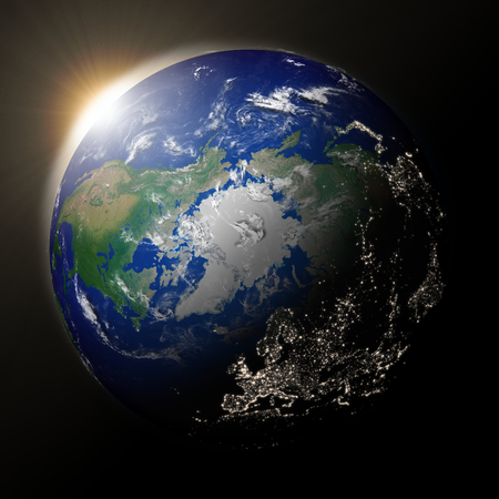 Sunset over northern hemisphere on planet Earth. High detail planet surface with city lights.  photo