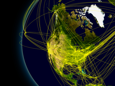 North America viewed from space with connections representing main air traffic routes. photo