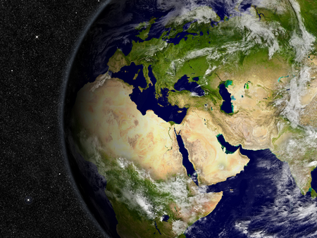 Europe, Middle East and Africa region on planet Earth from space with stars in the background.  写真素材