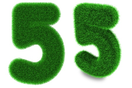 Number five covered by green grass isolated on white background photo
