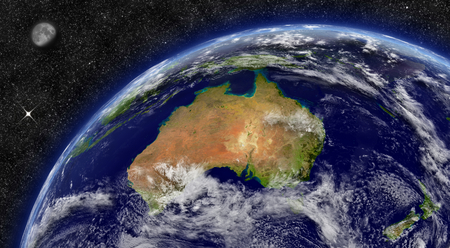 Australia on planet Earth from space with Moon and stars photo