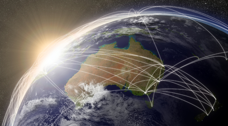Australia with network representing major air traffic routes.  photo