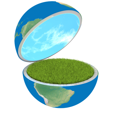 clean environment: Opening planet Earth isolated on white background, concept of ecology and clean environment.