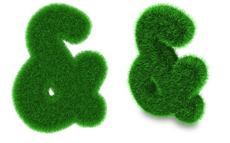 Ampersand sign covered by green grass isolated on white background photo