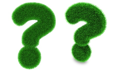 Question mark covered by green grass isolated on white background photo