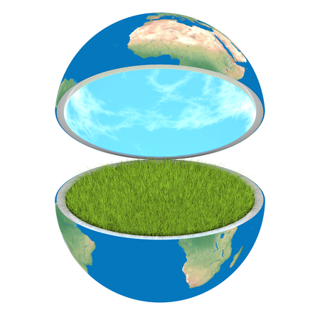 Opening planet Earth isolated on white background, concept of ecology and clean environment. Elements of this image furnished by NASA photo