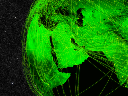 Network over Middle East. Information technology concept.  photo