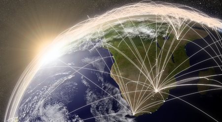 air traffic: South Africa region with network representing major air traffic routes. Elements of this image furnished by NASA.
