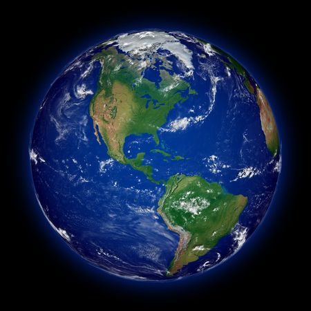 continente americano: Continente americano en el planeta tierra azul aislado sobre fondo negro. Superficie del planeta altamente detallado. Los elementos de esta imagen proporcionada por la NASA.