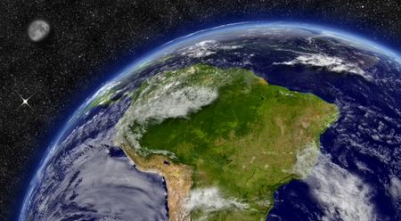 amazon rainforest: South America region on planet Earth from space with Moon and stars