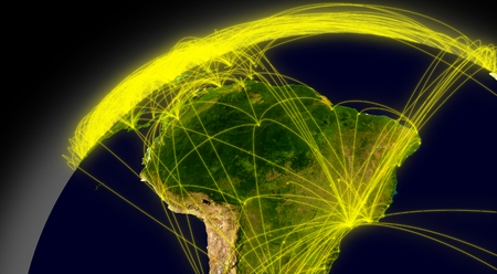 air traffic: South America viewed from space with connections representing main air traffic routes.