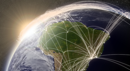 air traffic: South America with network representing major air traffic routes.  Stock Photo
