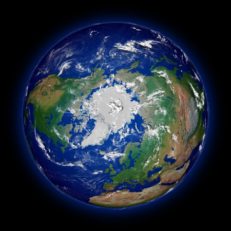 Northern hemisphere on Earth viewed from above north pole isolated on black. High detail planet surface.  Stock Photo