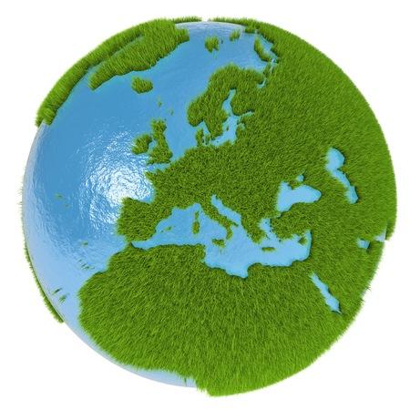 白で隔離される草で覆われた緑の地球上の大陸でヨーロッパ