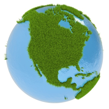 clean environment: North America on green planet covered with grass isolated on white. Concept of ecology and clean environment.