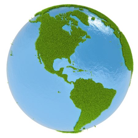 continente americano: Continente americano en el planeta verde cubierto de hierba aislado en blanco. Concepto de ecolog�a y medio ambiente limpio.
