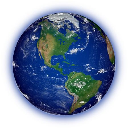 continente americano: Continente americano en el planeta tierra azul aislado en blanco. Superficie del planeta altamente detallada.