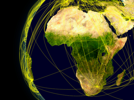 africa continent: Africa viewed from space with connections representing main air traffic routes.