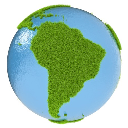 clean environment: South America on green planet covered with grass isolated on white. Concept of ecology and clean environment.
