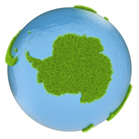 clean environment: Antarctica on green planet covered with grass isolated on white. Concept of ecology and clean environment.