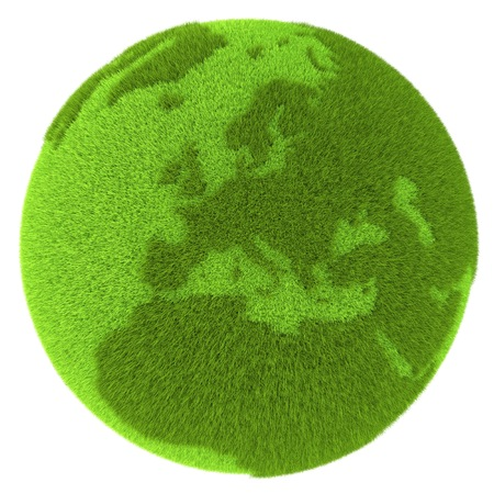 clean environment: European continent on green planet covered with grass isolated on white background. Concept of ecology and clean environment. Elements of this image furnished by NASA Stock Photo