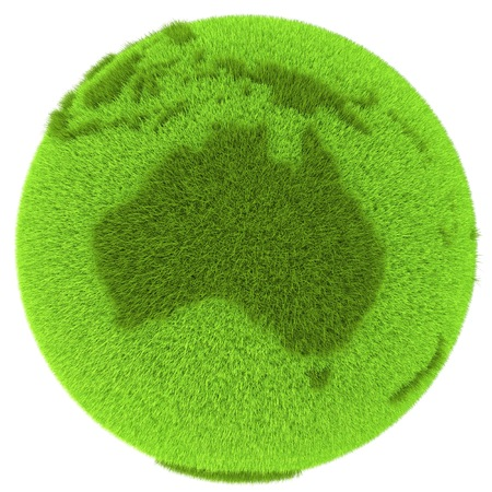 Australia continent on green planet covered with grass isolated on white background. Concept of ecology and clean environment. Elements of this image furnished by NASA Stock Photo