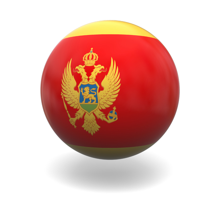 National flag of Montenegro on sphere isolated on white background