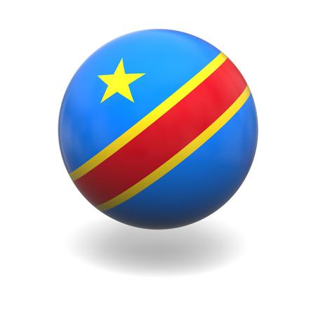 democratic republic of the congo: National flag of Democratic Republic Congo on sphere isolated on white background Stock Photo