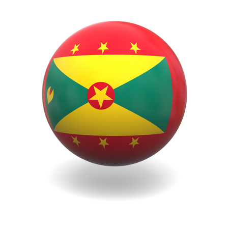 grenada: National flag of Grenada on sphere isolated on white background Stock Photo