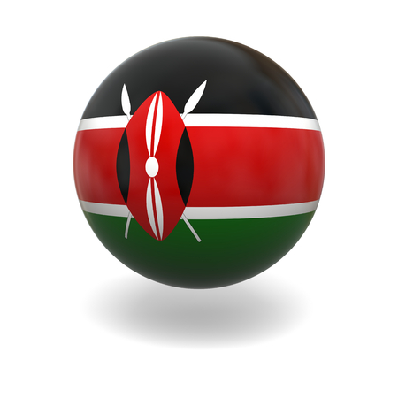 kenya: National flag of Kenya on sphere isolated on white background