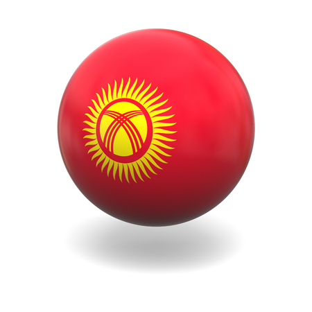 kyrgyzstan: National flag of Kyrgyzstan on sphere isolated on white background