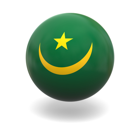 mauritania: National flag of Mauritania on sphere isolated on white background