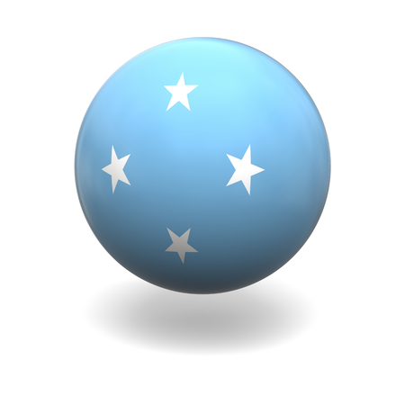 National flag of Micronesia on sphere isolated on white background photo