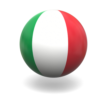 flag of italy: National flag of Italy on sphere isolated on white background Stock Photo